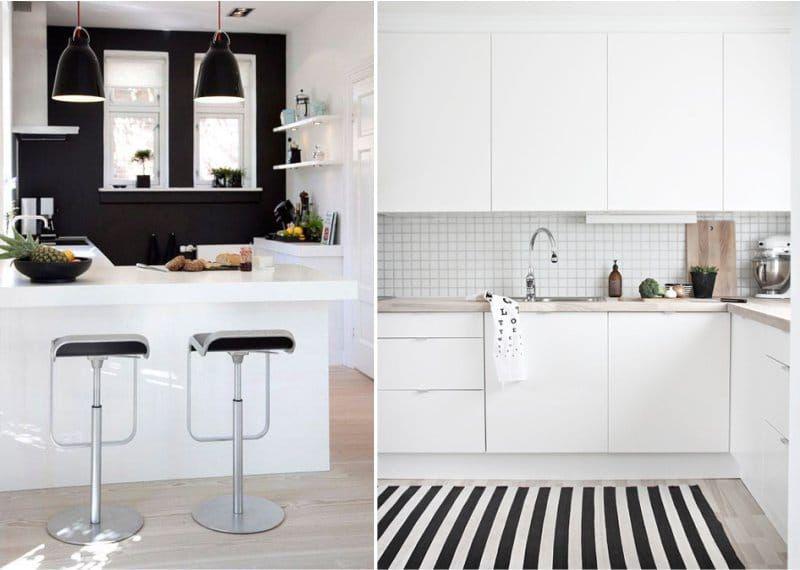 Интерьер кухня белая мебель в