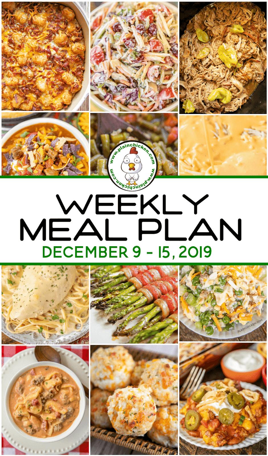 Weekly Dinner Menu Week One Weekly dinner menu, Dinner