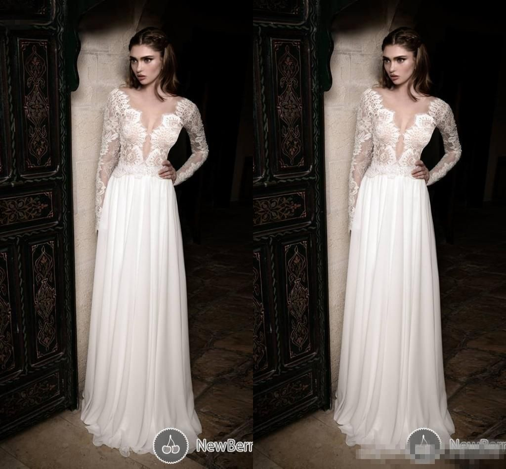 spring betra lace a line wedding dress sheer v neck long