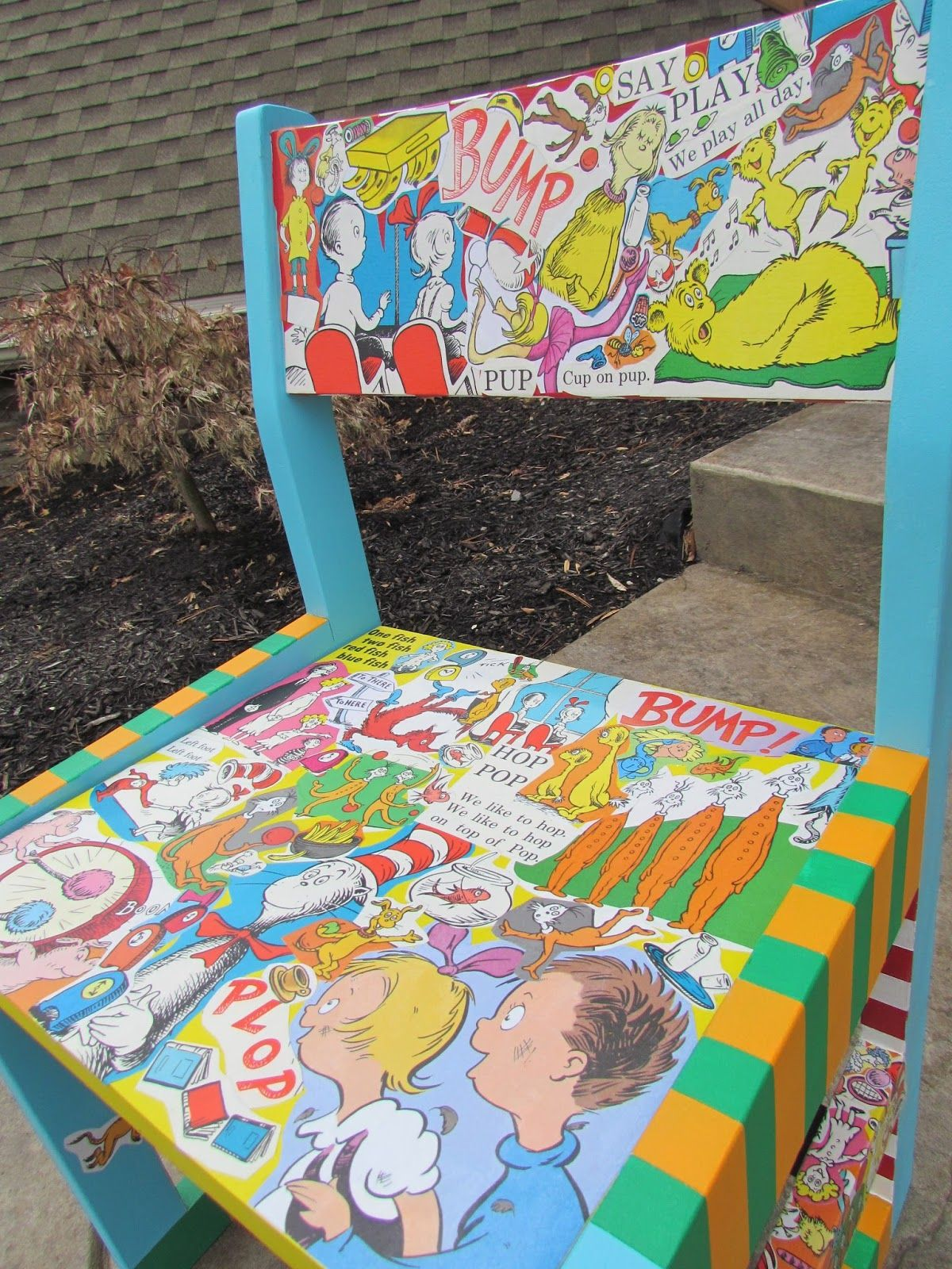 Painted chairs pinterest - Dr Suess Decoupage And Hand Painted Children S Chair Shopdog Furniture