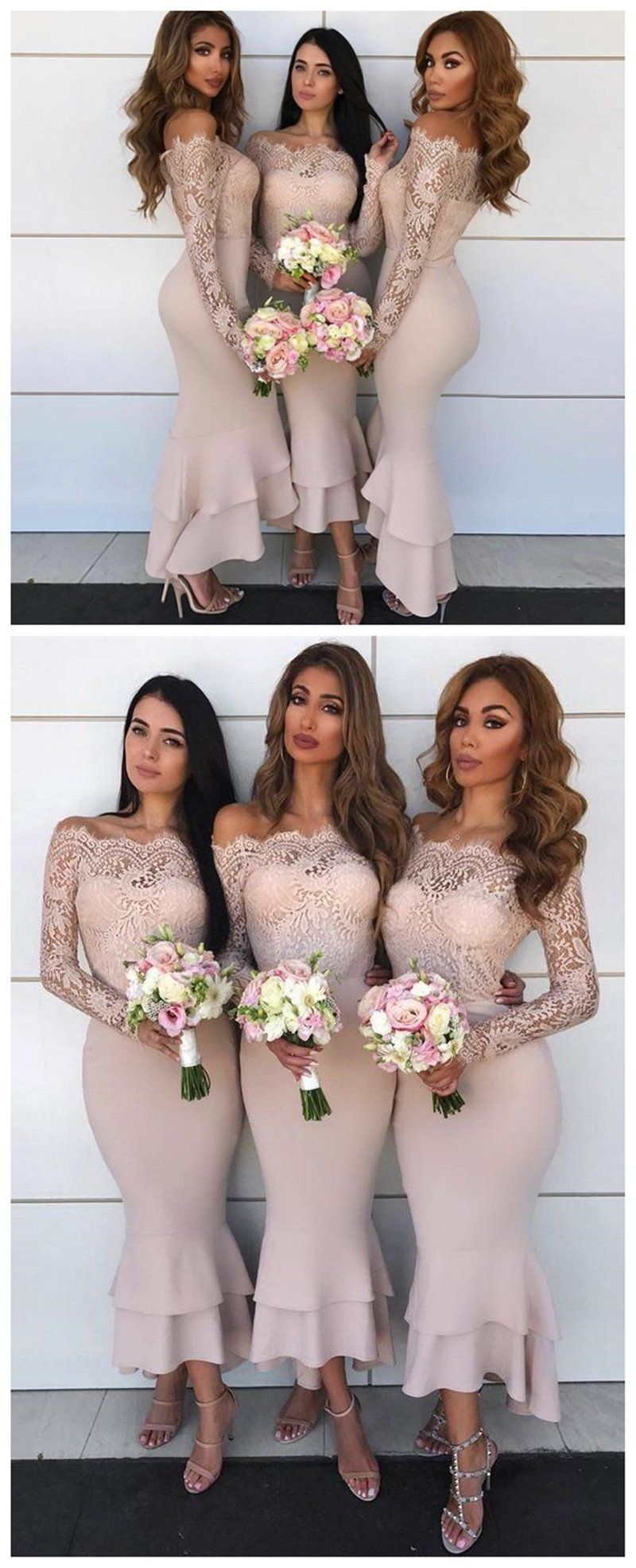 Off shoulder cheap mermaid long bridesmaid dresses with lace long