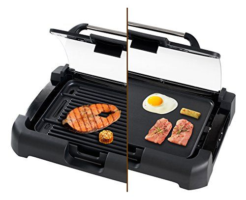 Secura Gr 1503xl 1700w Electric Reversible 2 In 1 Grill Griddle W Glass Lid Indoor Outdoor Cooking Area Outdoor Kitchen Appliances Electric Griddle