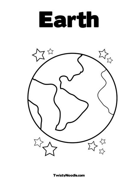 Earth With Stars Coloring Page Earth Coloring Pages Earth Day