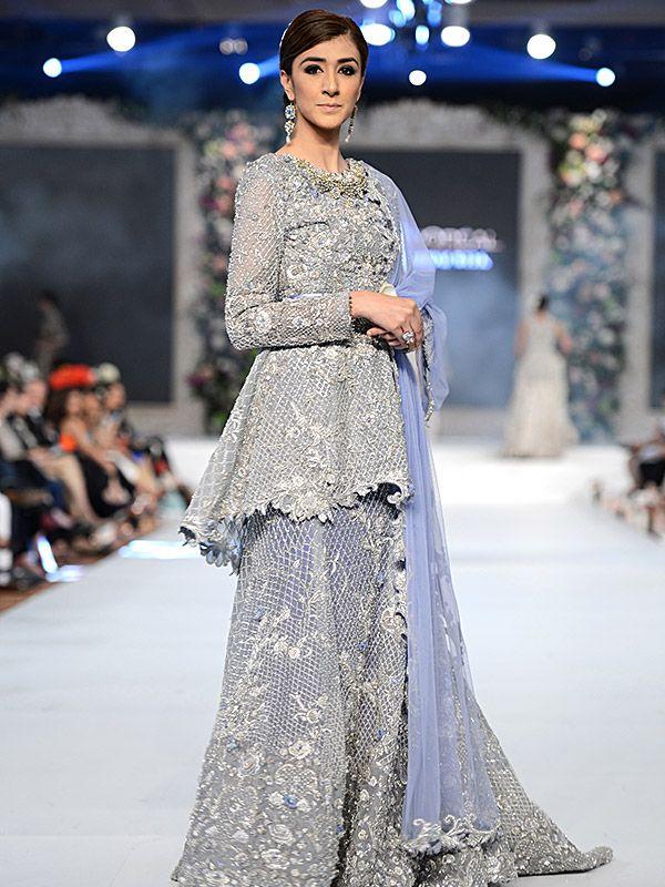 Pakistani Designer Walima Dresses 2017 In Sky Blue Color Fashion