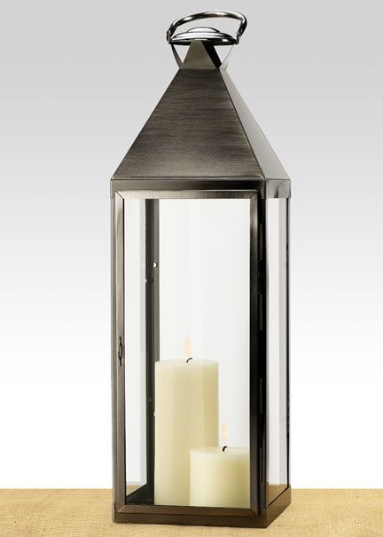 29in Matte Pewter Metal Square Lantern | Jamali Floral U0026 Garden Supplies