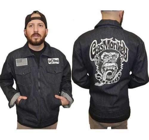 c431535f Fast And Loud Tv Show Gas Monkey Garage Denim Zip Up Patch Jacket Shirt M  Medium #FastAndLoud #FrontSnapPocketsZipUpJacket