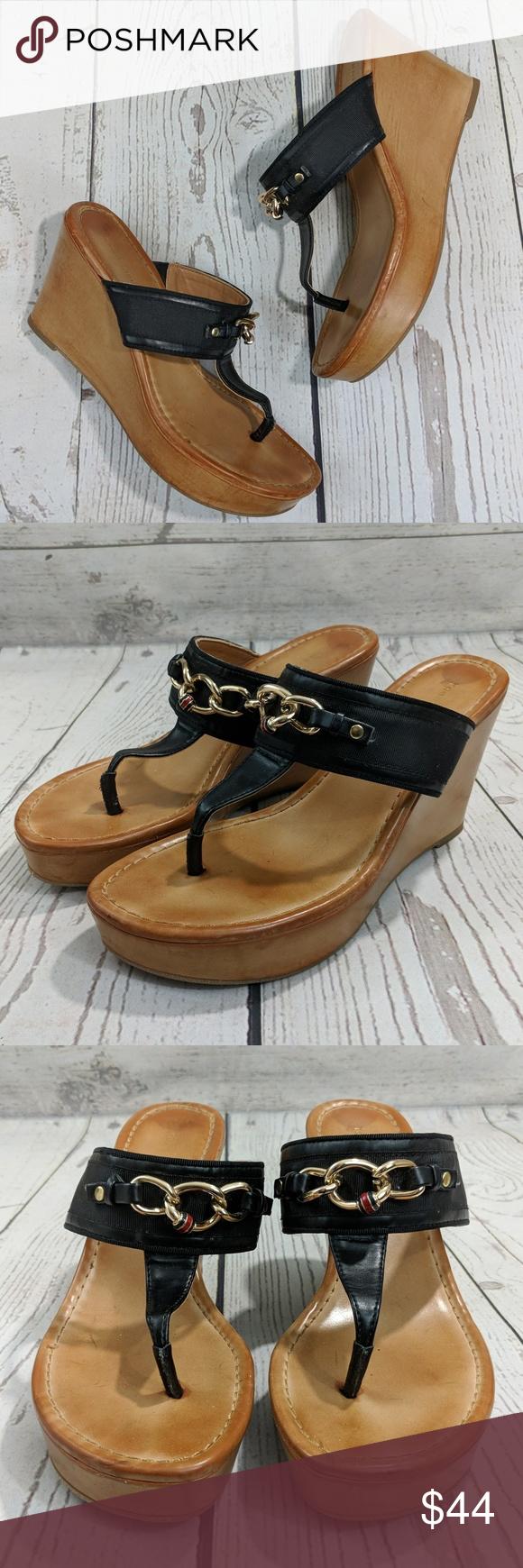 4f512d29b281b Tommy Hilfiger Wedge Sandals in Black