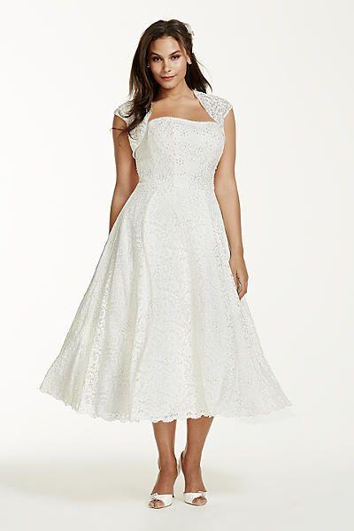 tea-length plus size wedding dress with jacket 4xl9t9948 | wedding