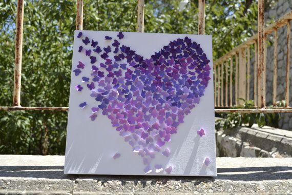 3D Purple Obre Butterfly Wall Art Nursery Decor por RonandNoy