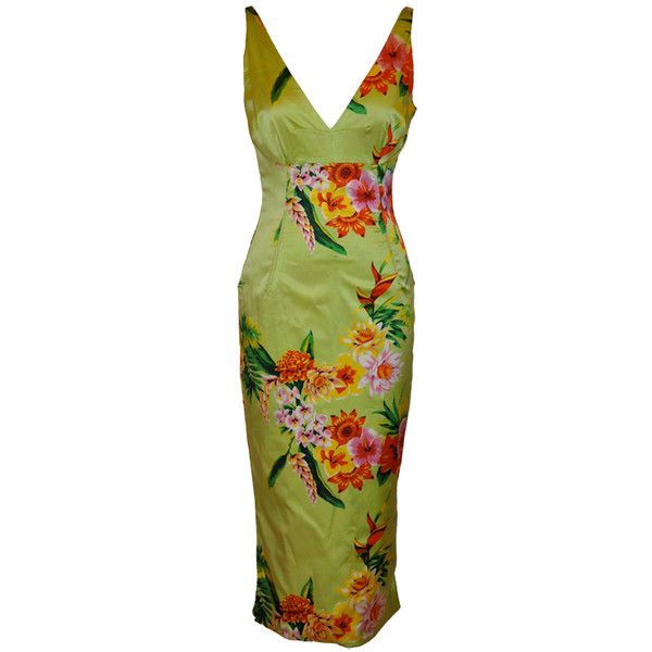 Preowned Dolce & Gabbana Green Floral Form-fitting Dress ($1,800) ❤ liked on Polyvore featuring dresses, green, form fitting dresses, dolce gabbana dress, corset style dress, slit dress and preowned dresses