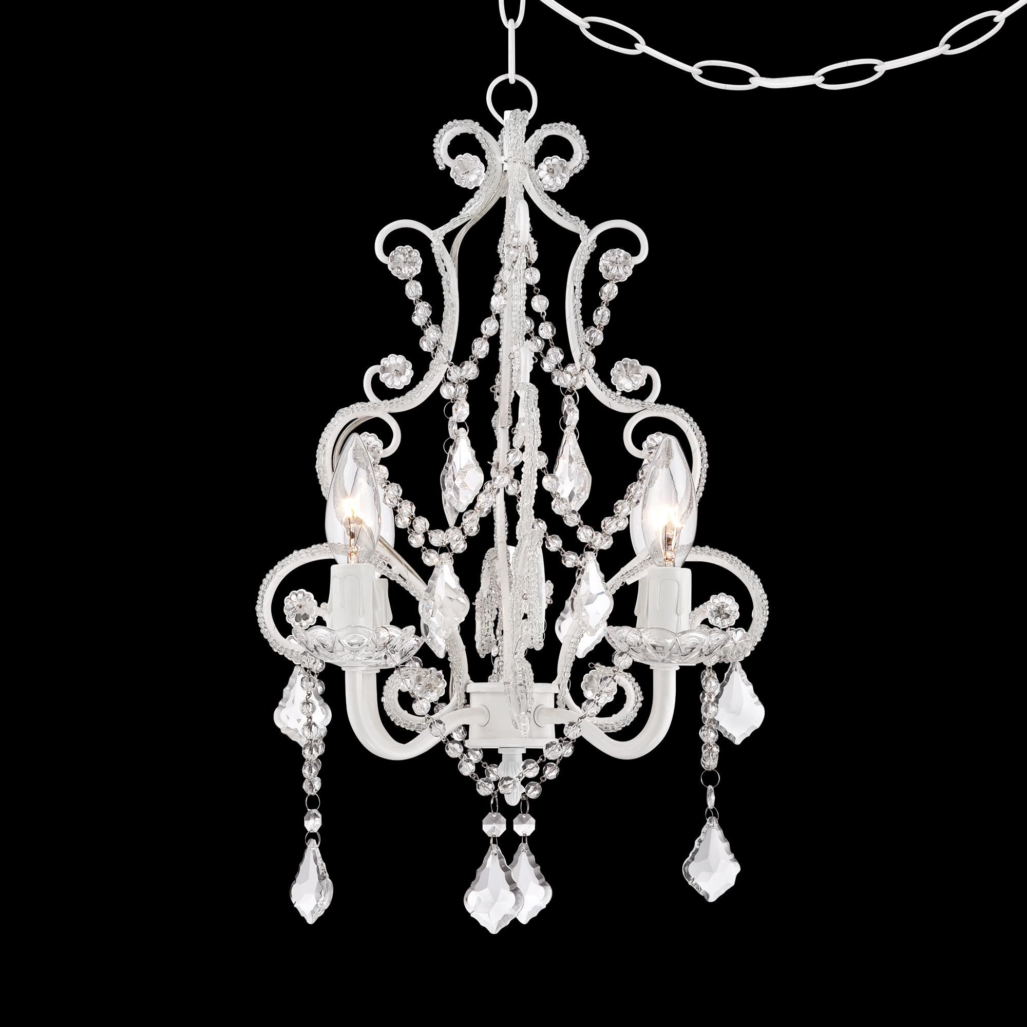 White With Crystal Accents Plug In Swag Chandelier