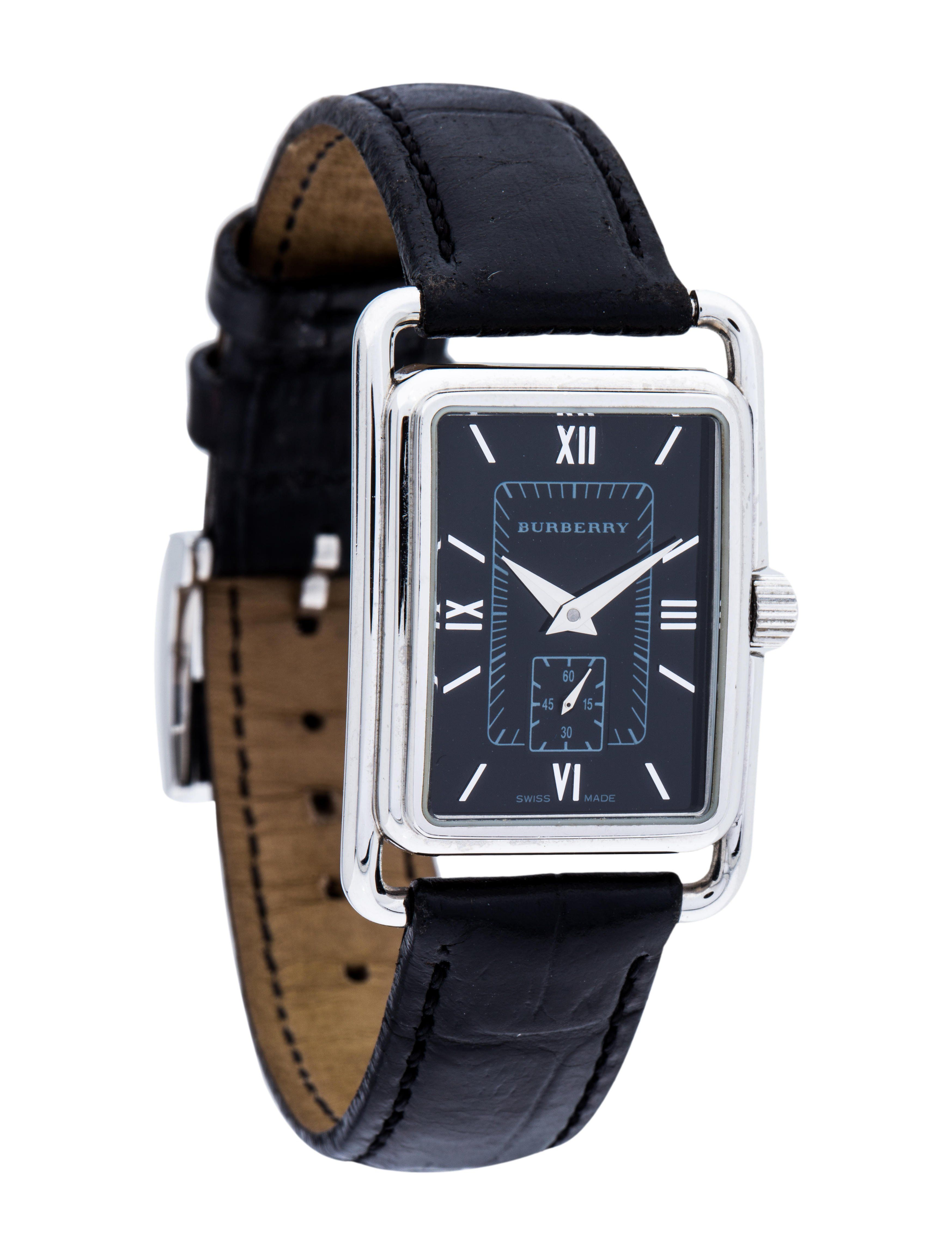 Stainless steel 24mm x 35mm Burberry Classic watch featuring a quartz  movement f59ba35a941