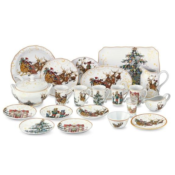 Williams Sonoma Christmas Plates.Twas The Night Before Christmas Dinnerware Collection