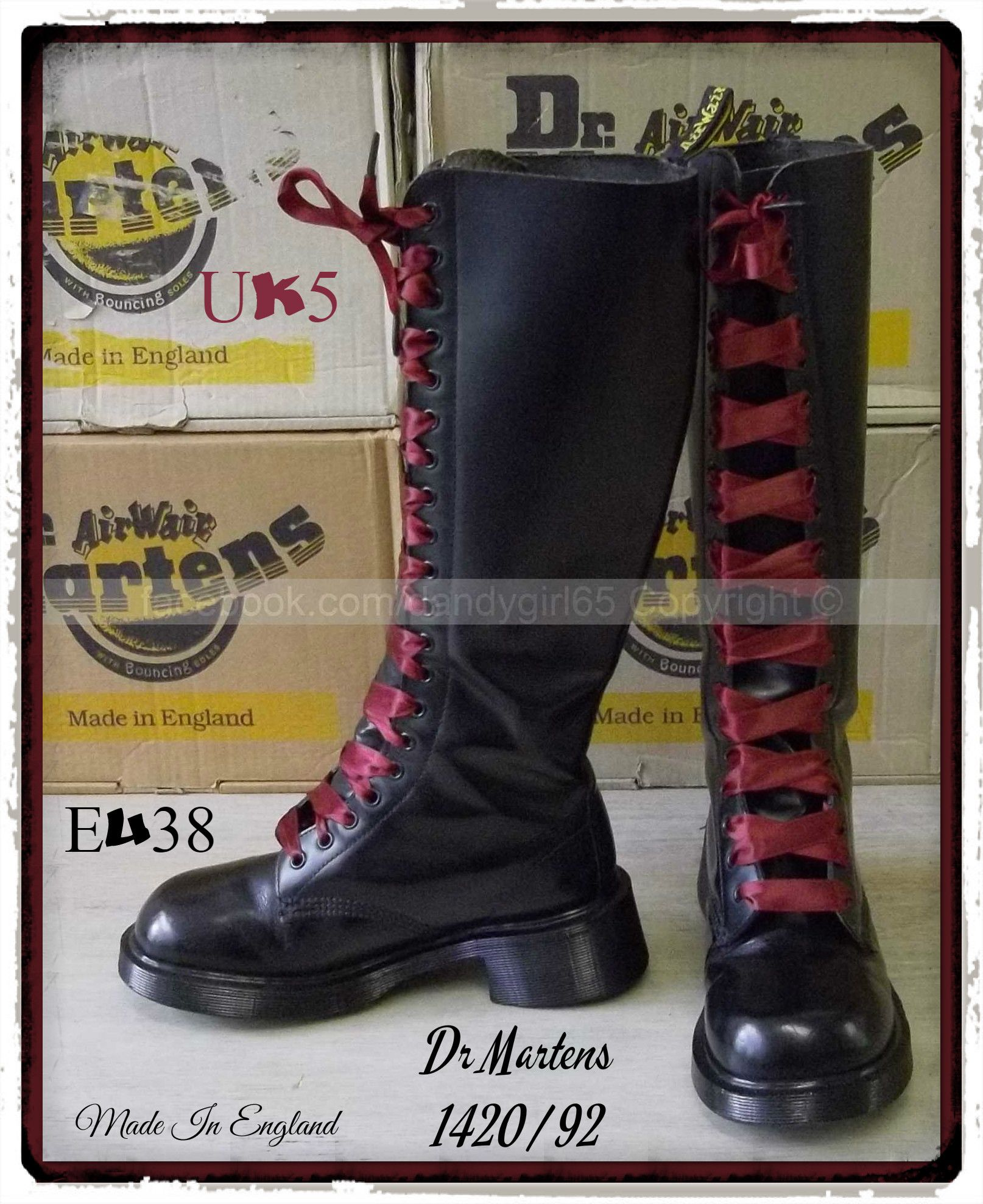 9e12c5f3c22 Dr Martens 1420 92 UK5 P38 Made In England !! 20 Trous collector cuir