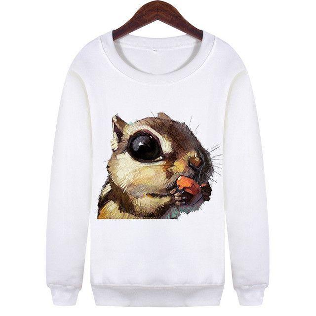 Dingtoll Women Multi Animal Hoodies White Harajuku Moletom Long Sleeve Sweatshirts Plus XL WMH89