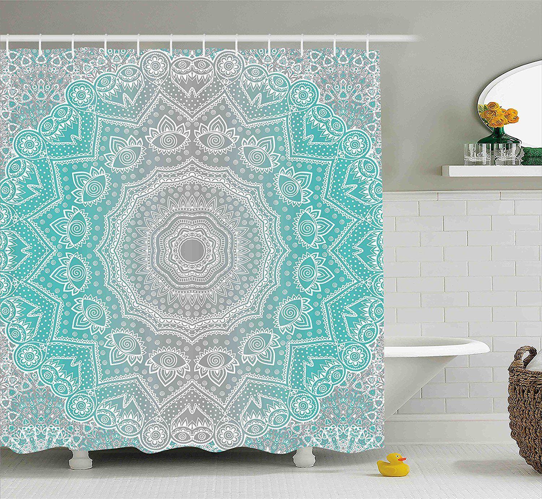 Grey Turquoise Mandala Boho Shower Curtain