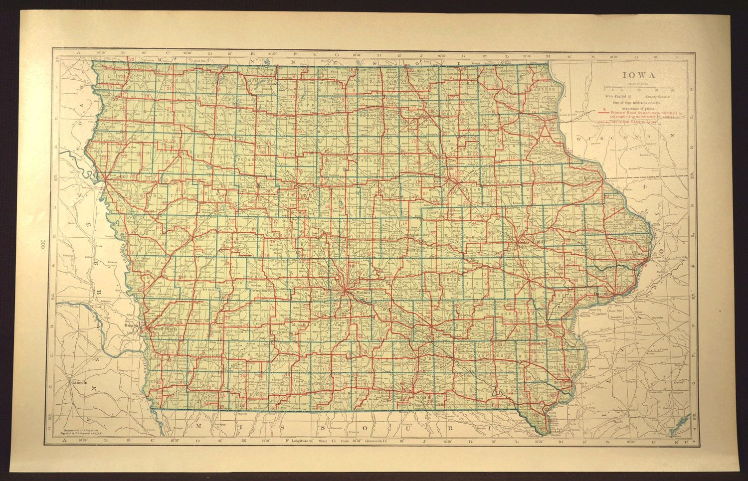 Iowa Map LARGE Iowa Road Map Highway Wall Art Decor Green | Map Wall ...