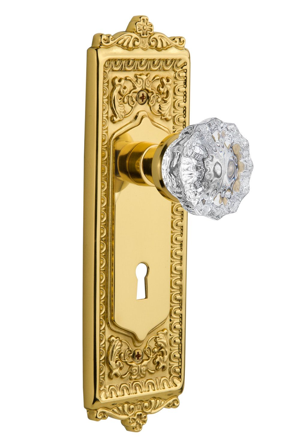 Crystal Glass Interior Mortise Door Knob With Egg And Dart Plate