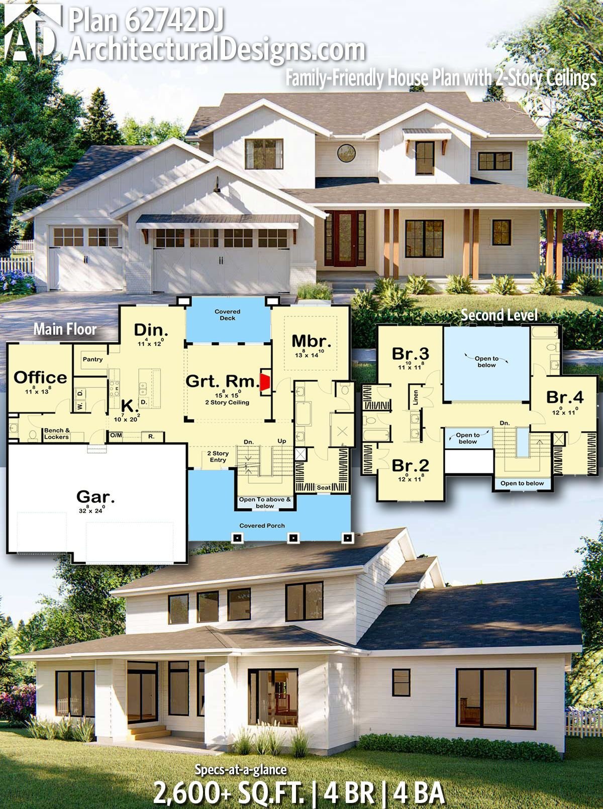Plan 62742dj Family Friendly House Plan With 2 Story Ceilings House Plans House Design Architecture Design