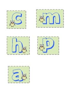 The letters C, H, A, M, P that are owl themed. Stands for Conversation, Help, Activity, Movement, and Participation. Downloaded the other documents...