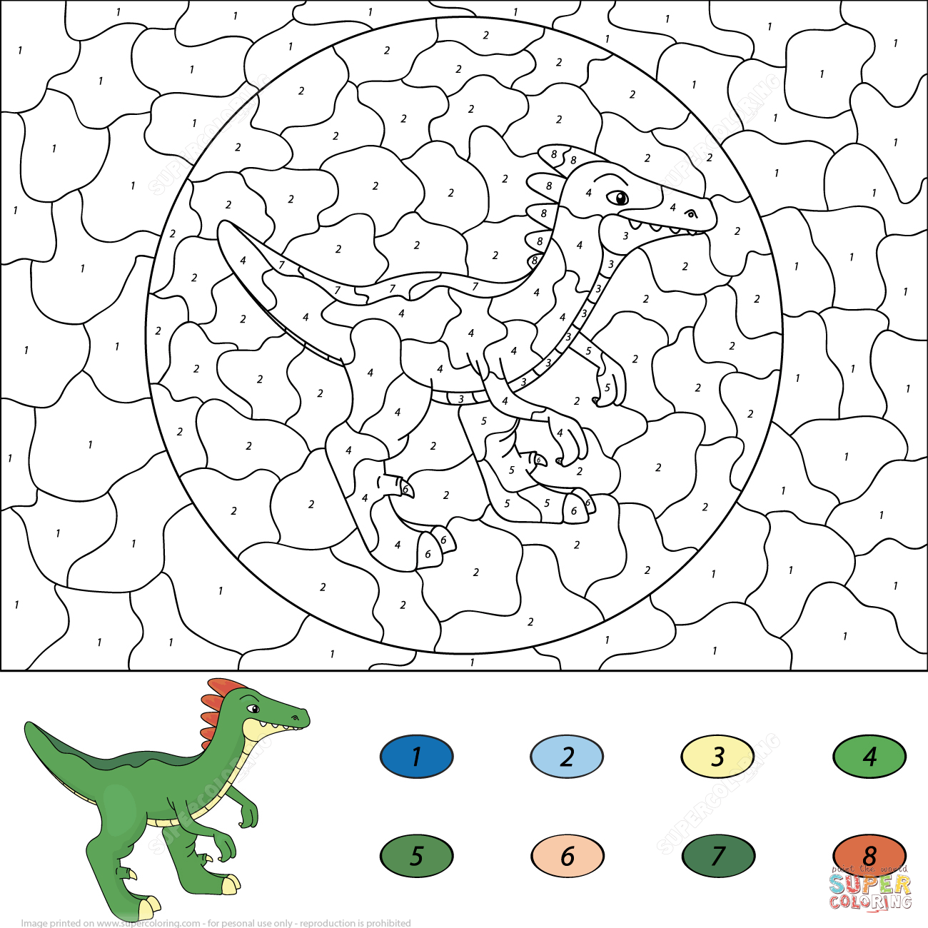 Number Color Dinosaur In