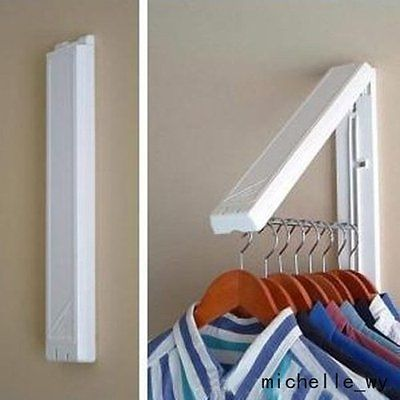 Stainless Folding Wall Hanger Mount Retractable Indoor Clothes Rack Clothe Hange -   21 DIY Clothes For Kids laundry rooms ideas