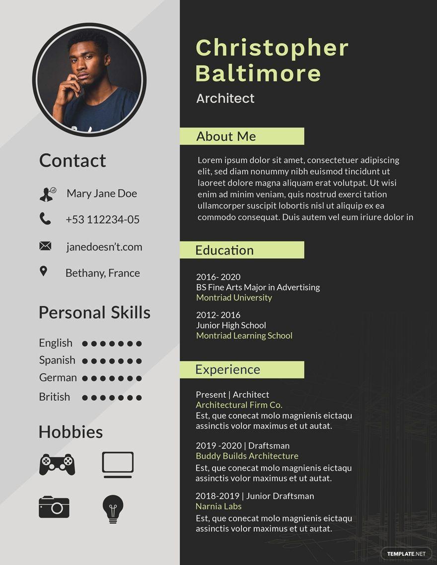 Free Architect Resume Template Ad Affiliate Architect Free Template Resume Desain Resume Desain Cv Cv Kreatif