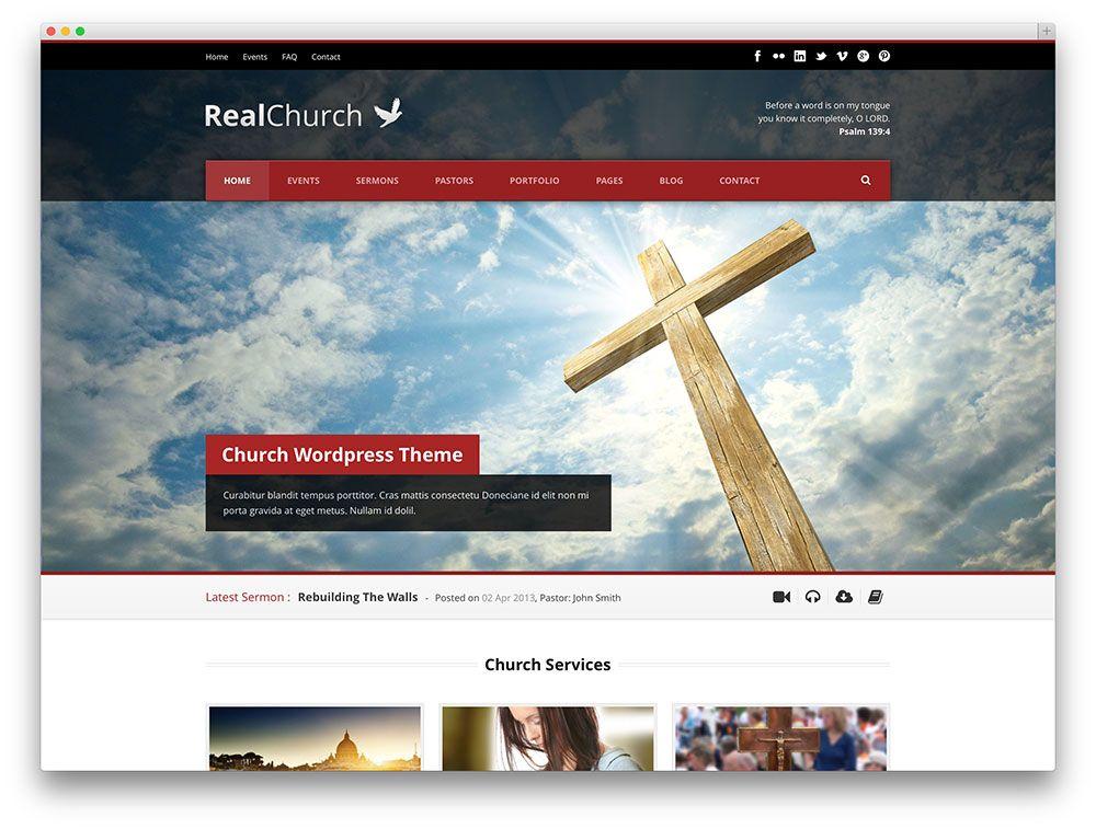 realchurch elegant church theme | Web site model (Modèle site web ...