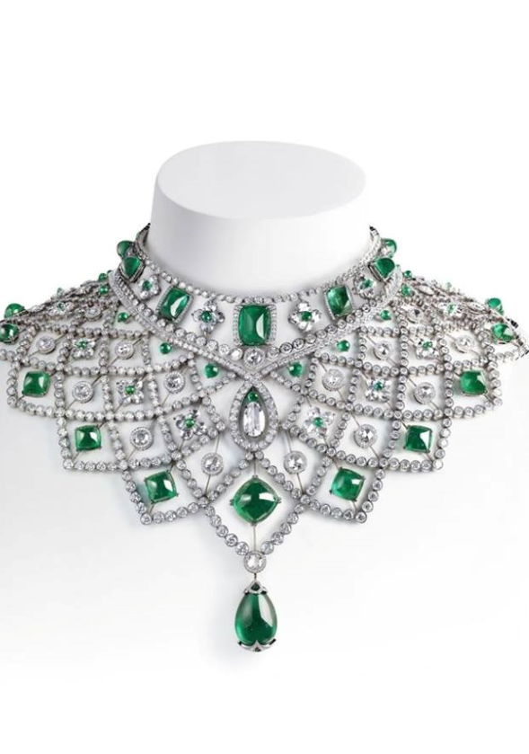 STUNNING DESIGN with emeralds and diamonds in a necklace , from Iryna