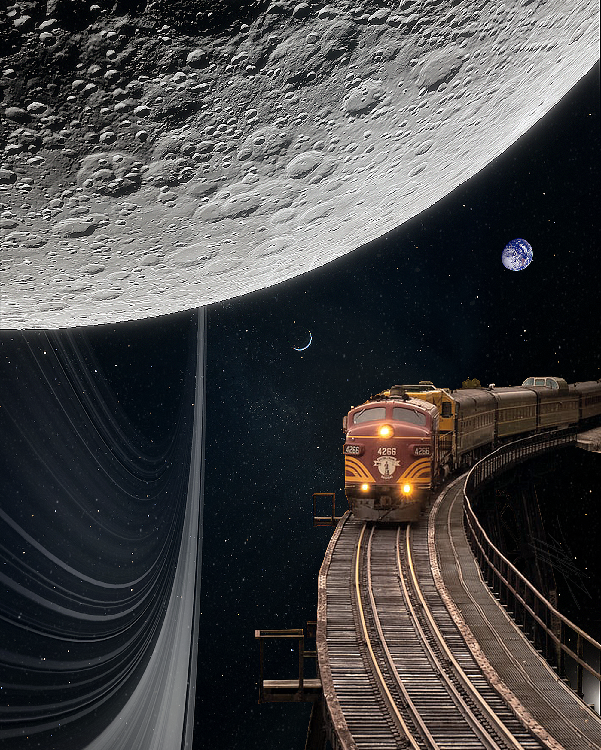 Moon Ride - Vintage Collage