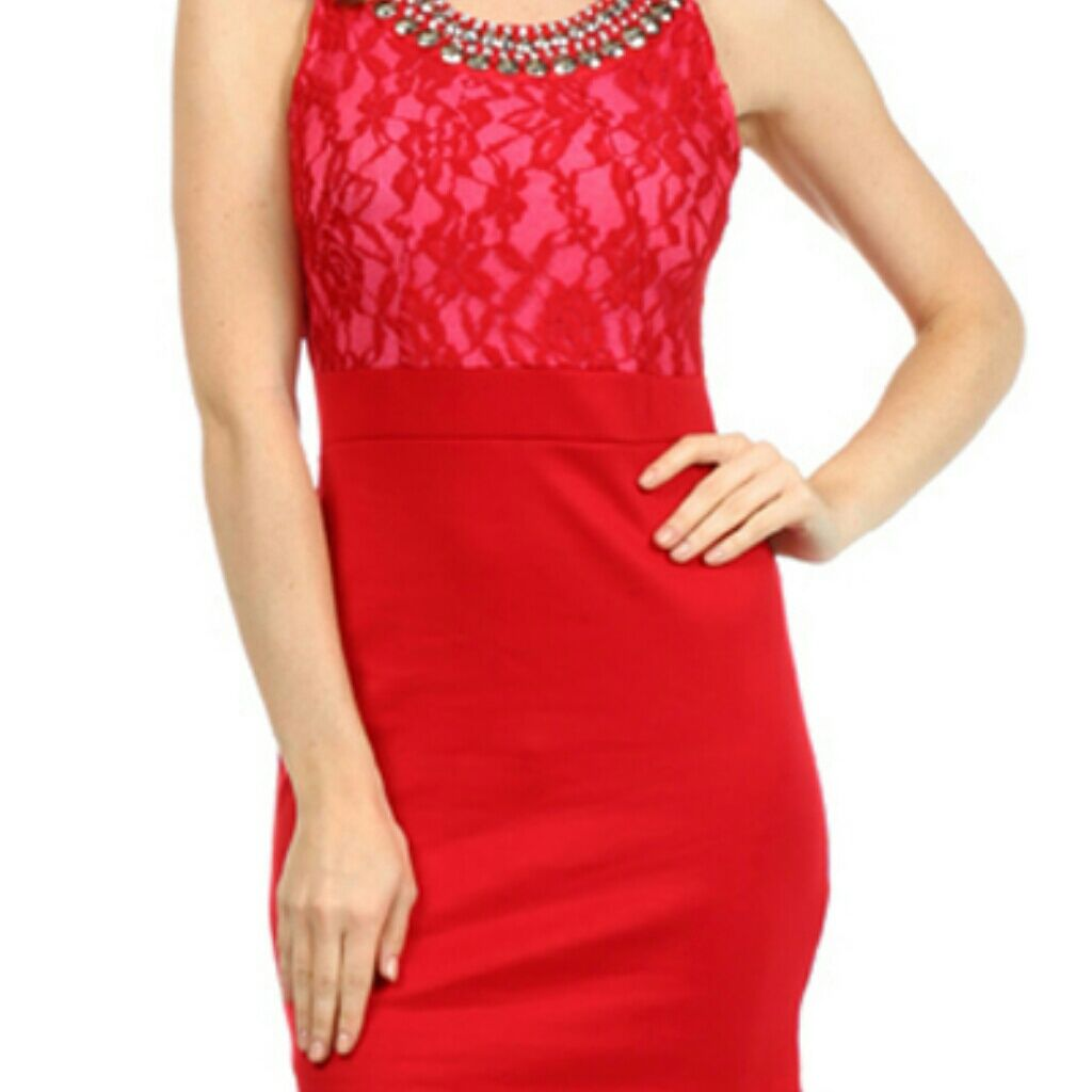 Jewel lace dress red products