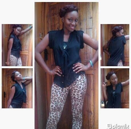 animal print leggings n a black sleeveless top