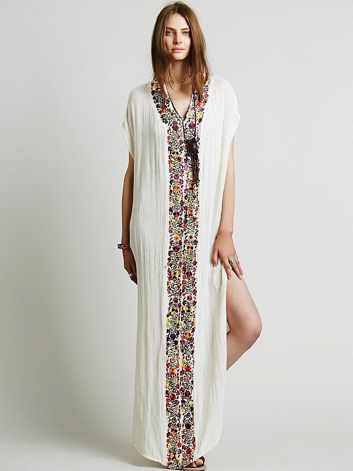 Free People Embroidered Maxi Kaftan 57fe566b6fd