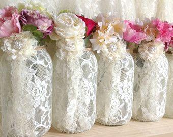 10x rustic burlap and lace covered mason jar vases wedding decoration.