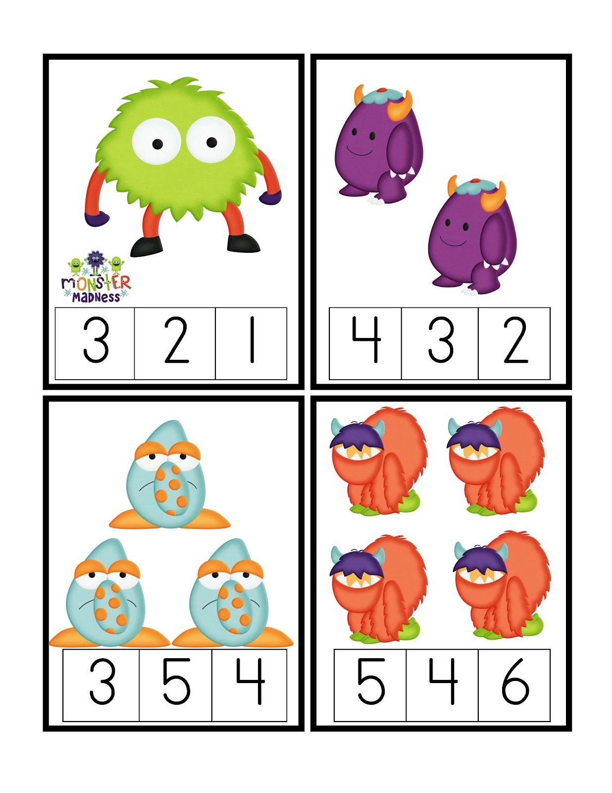 Preschool printables little monsterus printable math counting