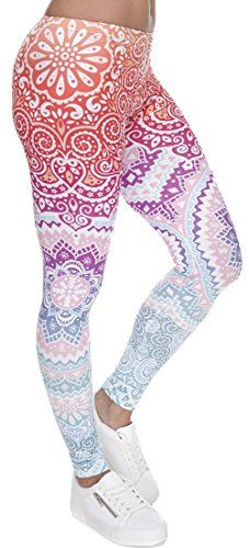 b10f368009ed1 Ndoobiy Digital Printed Women s Full-Length Yoga Workout Leggings Thin  Capris (Color Shape)