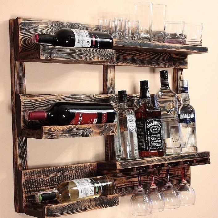 Polka Na Wino Alkohol Z Palet Rustykalna Vintage 6592623343 Oficjalne Archiwum Allegro Alcohol Dispenser Wine Rack Pallet Bar