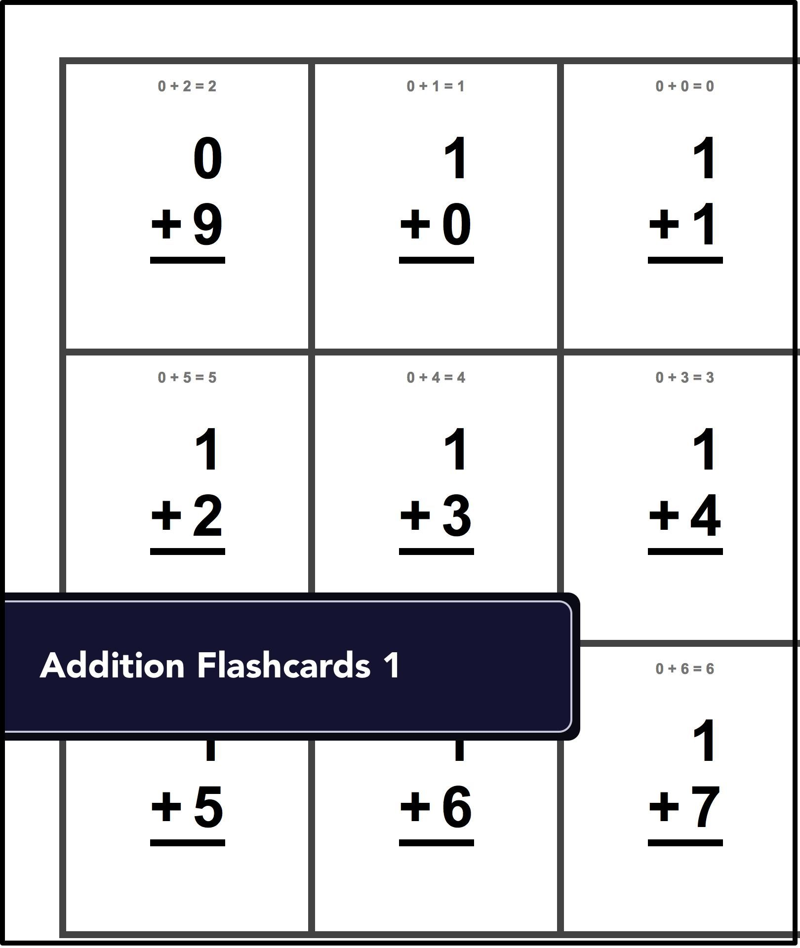 worksheet Division Flash Cards Printable basic math worksheets for little ones just starting out free printable flash cards each
