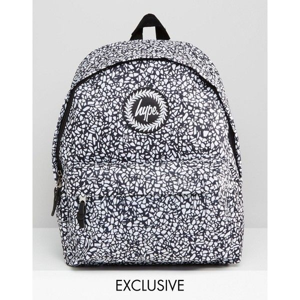 Hype Exclusive Monotone Mosaic Backpack (£25) ❤ liked on Polyvore featuring bags, backpacks, black, hype bags, backpack bags, top handle bags, hype backpack and polyester backpack