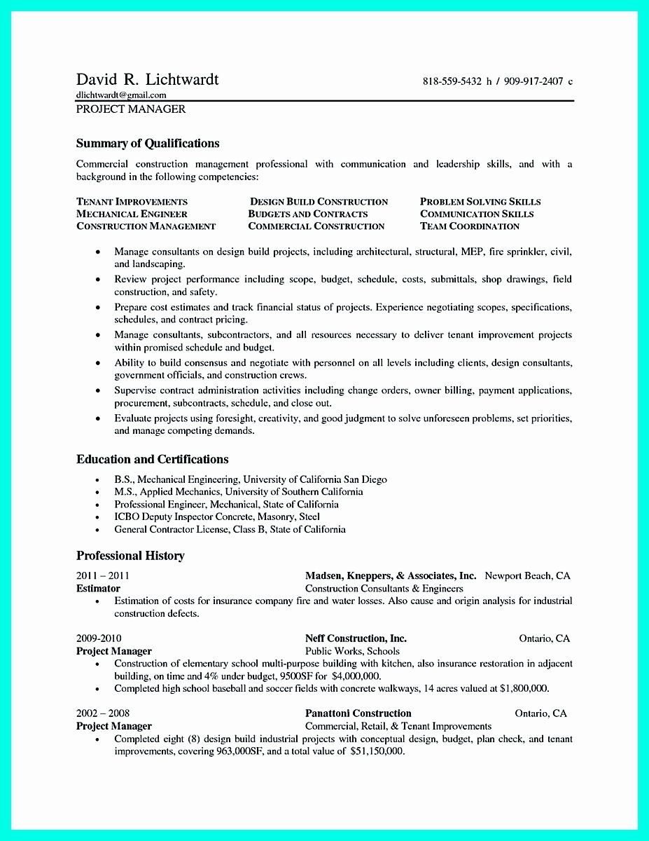 Construction Project Manager Resume Examples Awesome Cool