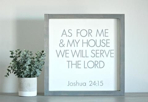 Framed Farmhouse Sign As For Me And My House We Will Serve The Lord Rustic Wall Sign Wood Wall Art Decor Cross Wall Decor