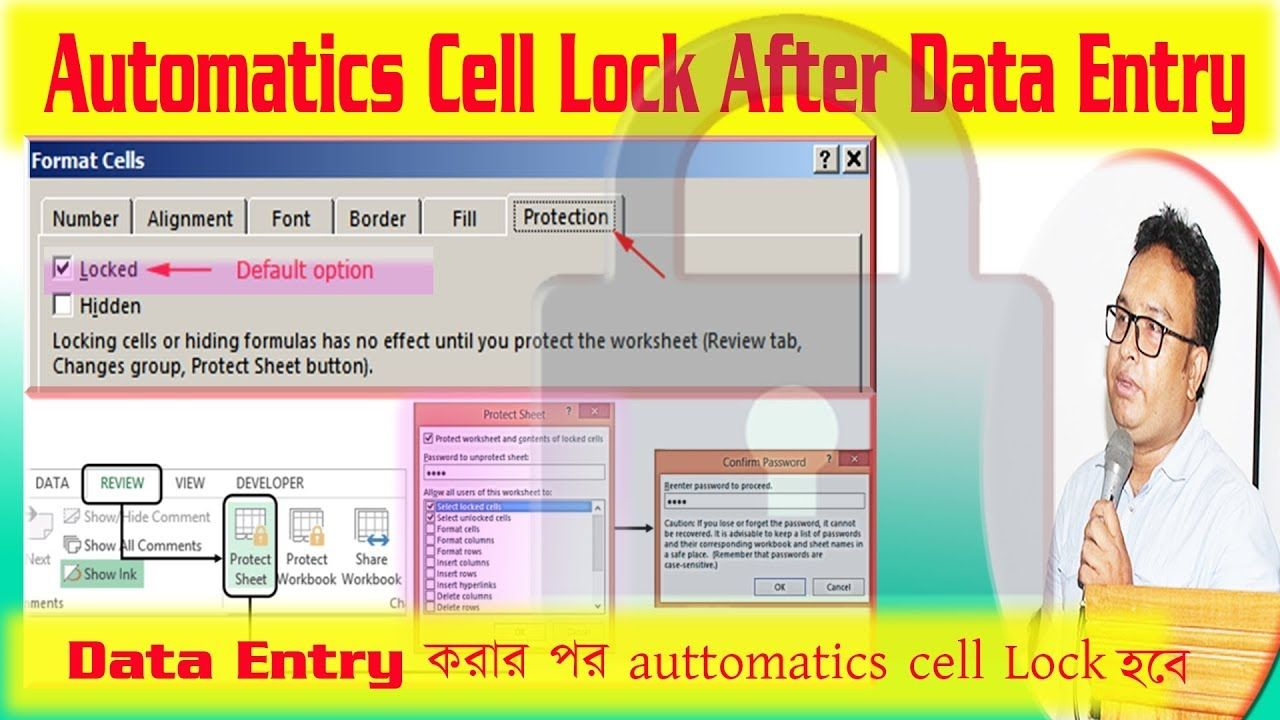 Automatically password protect excel worksheet & lock cell
