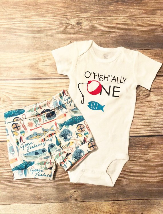 Ofishally ONE shorts Fisherman Theme birthday outfit, Fishing, Fisherman, Fish theme, first birthday outfit, 1st birthday outfit, birthday