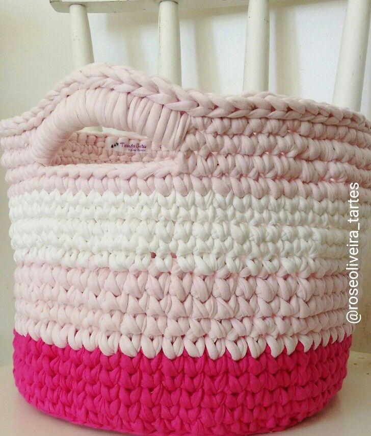 Tecendo artes em crochet fazendo cestos com fio de malha - Cesta de cuerda y ganchillo ...
