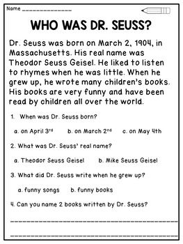 Dr. Seuss Reading Comprehension Passages and Activities