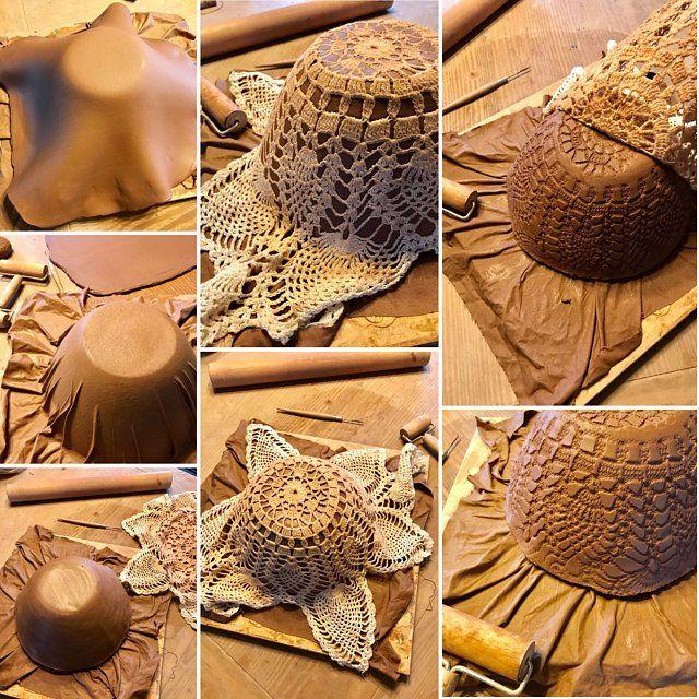AUF Bestellung hergestellt ~ rustikale servieren Set ~ antike Häkeldeckchen ~ Teller & Schüsseln ~ handgemachte Vermont Keramik #slabpottery