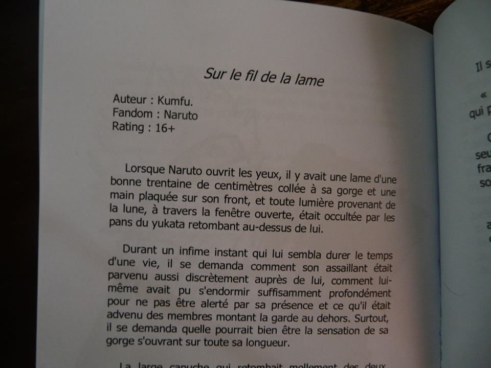 Recueil comportant fanfiction Naruto : Sur le fil de la lame
