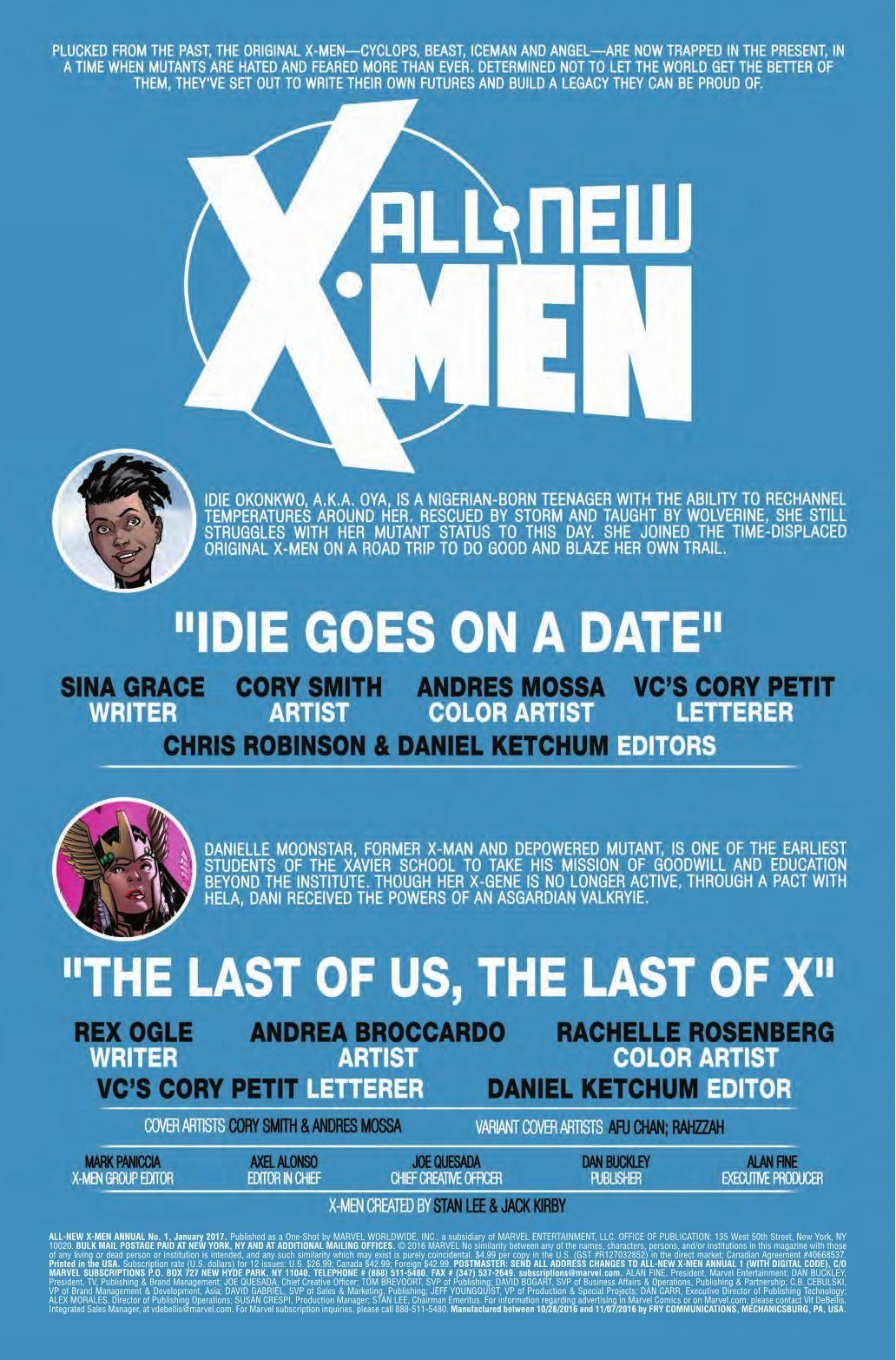 Preview All New X Men Annual 1 Story Sina Grace Rex Ogle Art Cory Smith Cover Cory Smith Publisher Marvel Publication Date Novemb X Men Men Man Beast
