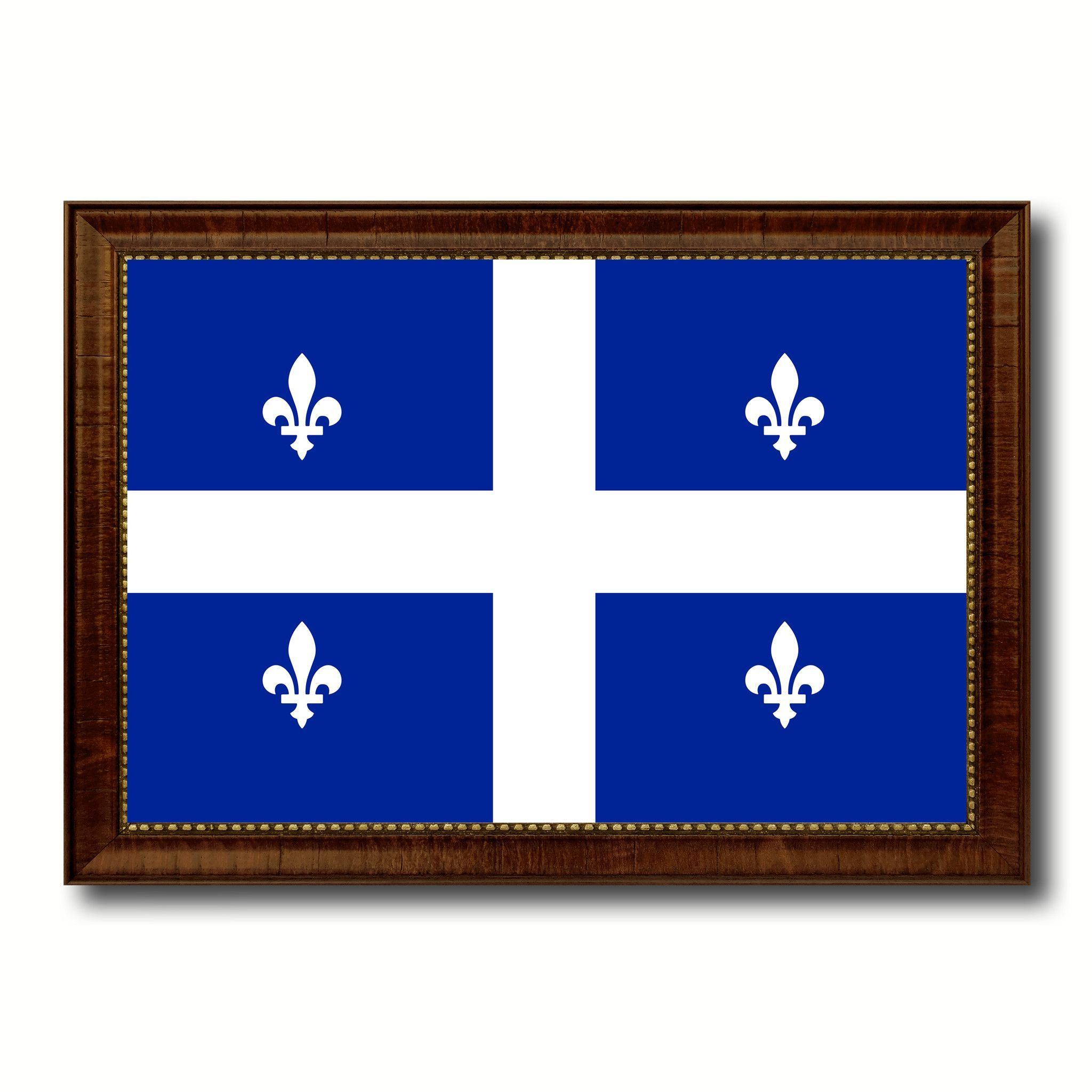 quebec city canada flag canvas print brown picture frame brown