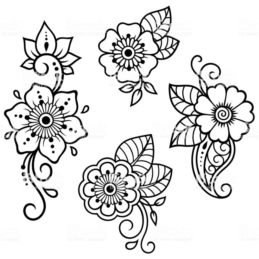 Set of Mehndi flower pattern for Henna drawing and tattoo. Decoration...